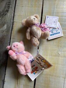 New Vtg 1994 Applause Ribbon Bow Teddy Bear Happy Birthday & Pink Get Well Pig
