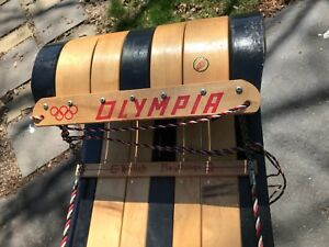 Vintage Olympia - Werlich Playthings - Toboggan Sled Wooden Sledding