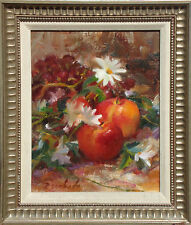"Louis Escobedo ""Apples and Daisies"" Hand Signed Original Oil Painting floral art"