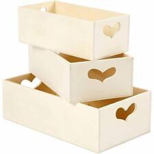 3 Wooden Heart Handle Storage Box Tray Deep Poplar Tree 15, 18, 20cm Paint Craft