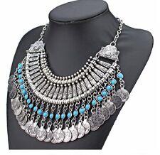 """Collier """"Chic Ethnique Turquoise"""" Oriental pièce argentée - (plastron necklace)"""