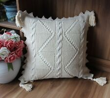 Ivory Ancient art Crochet square Tassels lace cotton pillow cases cushion cover