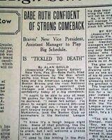 BABE RUTH Quits New York Yankees Baseball  & Joins Boston Braves 1935 Newspaper