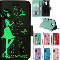 2019 Luminous Leather Flip Card Magnetic Wallet Case Cover For iPhone Samsung