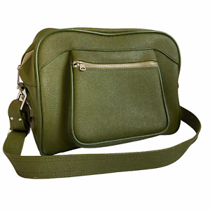 American Tourister Vintage 70s Bag Olive Green Grainy Leather Travel Bag