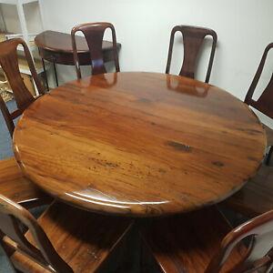 Round Wooden Dining Table 8 Chairs Railantique Hard Zimbabwe 1.5m Dark Grain
