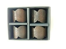 4pc Kassatex Bronze Napkin Rings Scalop Edge Leaf Shape Fall Winter Rustic New