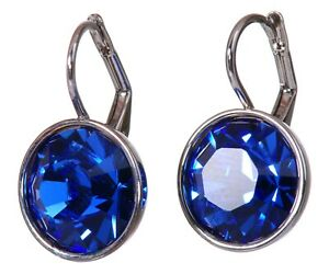 Crystals From Swarovski Sapphire Bella Earrings Rhodium Plated Authentic 7168w