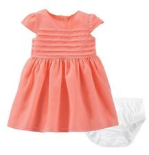 NWT CARTER'S baby/toddler girls short-sleeved pleated dress--Neon coral/pink