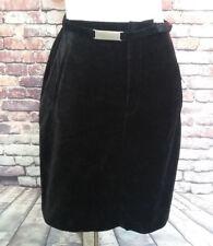 GloriaVanderbilt Black velour stretch pencil skirt pockets Belt size 10