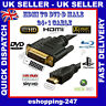 Black 3M Metre HDMI to DVI-D 24+1 Pin HD Digital Cable Lead for LED LCD TV PC