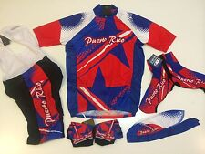 New size S - Puerto Rico Team Cycling Bike Set Flag Jersey Bib Shorts Gloves +