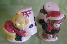 Christmas Teddy Bears Salt Pepper Shakers Ceramic
