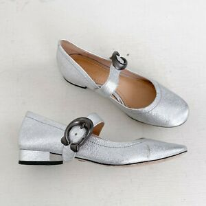 Coach Metallic Silver Leather Lexi Buckle Mary Jane Flats Low Heel Size 5