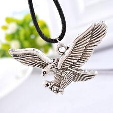 5PCs Men's Women's Eagle Silver Pendant Necklaces Black Wax Rope Chain Charm