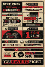 "FIGHT CLUB POSTER - RULES WELCOME TO FIGHT CLUB - MOVIE - 36 x 24"" 91 x 61 cm"