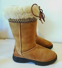 AUTHENTIC UGG AUSTRALIA CLASSIC MID TAN SUEDE SHEEPSKIN BOOT WOMEN SZ 6 S#F3007H