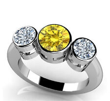 Fancy Yellow and White Diamond 0.75 carat 14k white gold 3 stone Engagement Ring