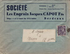 Lettre Commerciale Cachet Bordeaux (Gironde)/ Type Mercure Les engrais