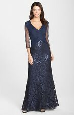 NWOT  navy Tadashi Shoji Sequin Laced  gown  size 14P