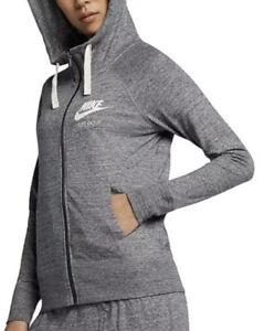 2X NIKE Women's Gray Sport Hooded Sweater Full- Zip hoodie AR1203 060
