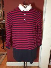 Brooks Brothers Girls Sz. L 10-12 Knit Red Navy Stripe Polo Dress  / Tunic