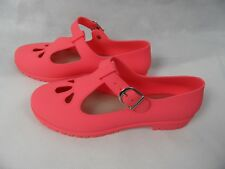 Neon Orange Rubber Jelly Shoes UK 5 38 Holiday Festival Winter Sun Casual