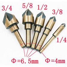 "5PCS Countersink Drill Bit Set HSS Chamfer Bits 82° Cutter 1/4""-3/4"" with Case"