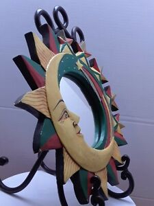 """Beautiful Wall Mirror Colorful Carved Painted Sun Moon Yellow, Green, Red  11.5"""""""