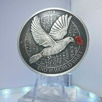 2018 $8 100th anniversary End of WWI  Hand Finished 5oz Silver Antiqued Coin