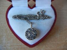 Rock crystal Rhinestone Chain Necklace Vintage Silver Rope and Pendant