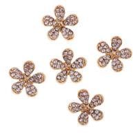 5X Gold Daisy Flatback Metal Rhinestone Button Scrapbooking Card Decorations
