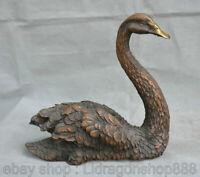 """10.8 """"Feng Shui en cuivre chinois Belle sculpture réaliste de statue de cygne"""