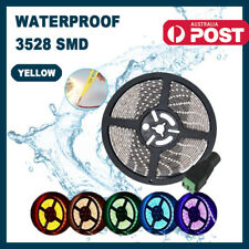 Waterproof LED Strip Light 3528 SMD 12V Flexible Bright 1M Yellow + Female Jack