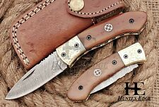 HUNTEX Custom Handmade Damascus 110mm Long CamelBon Hunting Folding Pocket Knife