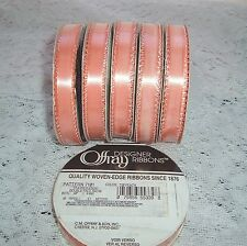 "6 rolls Offray Designer Ribbons 3/8"" x 10 Yards #720 Peach"