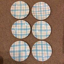 More details for 6x washington pottery gingham check side plates, empire harlequinade style