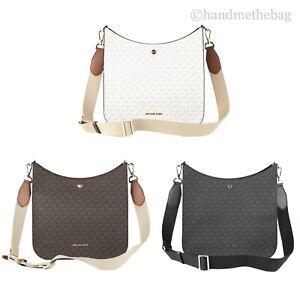 Michael Kors Briley Large Signature PVC Leather Messenger Bag Crossbody Handbag