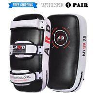 ARD® White Pair Kick Boxing Strike Curved Thai Pad MMA Kick Shield Focus Mitt