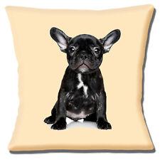 "French Bulldog Puppy Cushion Cover 16""x16"" 40cm Brindle Black White on Cream"