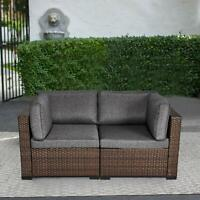 2 PCS Wicker Corner Sofa Set Patio Loveseat Furniture Outdoor Sitting Chairs