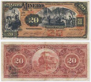 1914 MEXICO Banknote 💲 Banco Minero CHIHUAHUA 20 Pesos AMERICAN BANKNOTE Co.