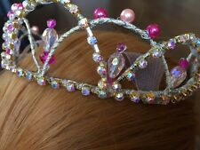 Professional Quality Gold Hot Pink Lt. Pink AB Crystal Ballet Tiara Headpiece
