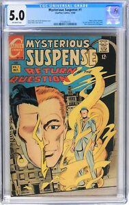 D217 Mysterious Suspense #1 Charlton CGC 5.0 VG/FN 1968, 1st Solo Question Comic