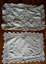 More details for 2 antique white cotton tray cloths with hand made borders