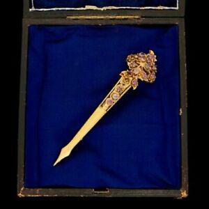 Antique Vintage Victorian Sterling Silver Gold Kondakoora Sapphire Pin Brooch