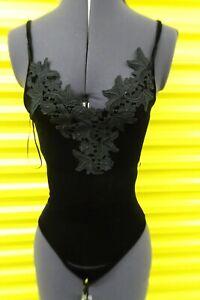 Topshop black velvet bodysuit size UK4 retail £26