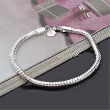 Fashion 925 Sterling Silver Plated Snake Bracelet Chain Bangle Cuff Pulsera