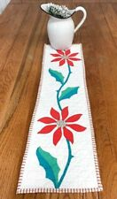 Christmas Holiday! Red Poinsettia Table QUILT Runner Applique Vintage 28 x 8