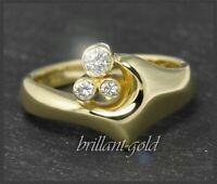 Diamant Brillant Damen Ring mit 0,15ct aus 585 Gold, 14 Karat Glbgold